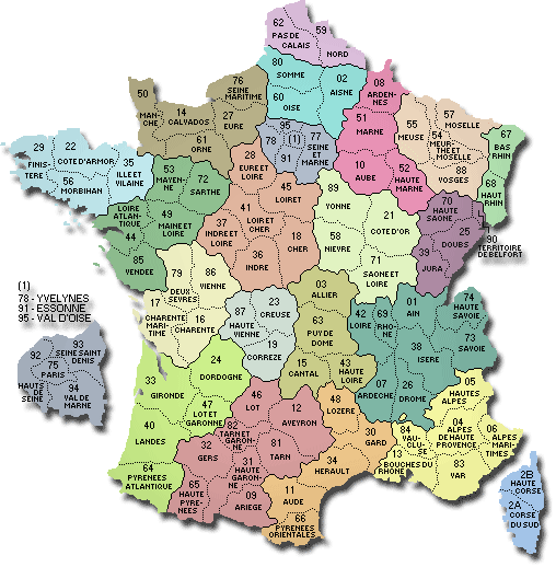 map france departements